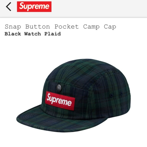 de6bd7a8055 ... authentic supreme snap button pocket camp cap plaid hat 42ca3 85b79
